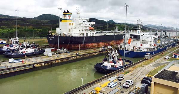 Panama canal and ships